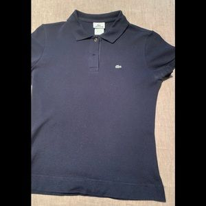 Lacoste fitted navy polo shirt